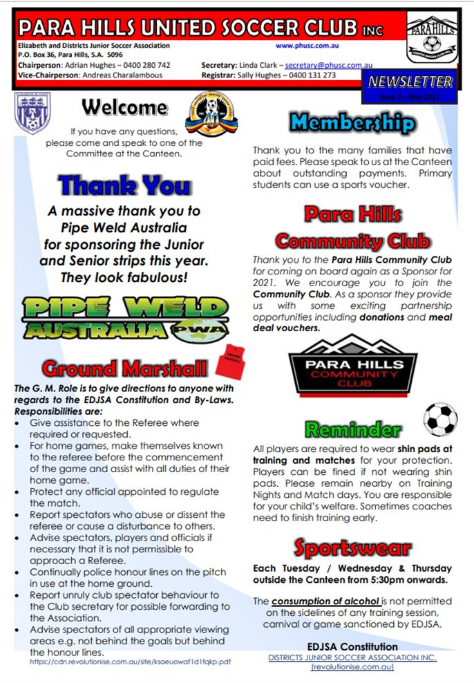 A screen capture of the February newsletter.